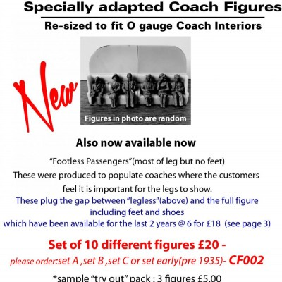 - 0 Gauge Coach Figures - CF002C Footless